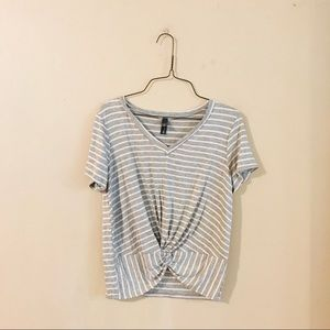 NWT Gray and White Striped Knot Front Tee